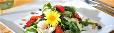 Colourful salad with flowers