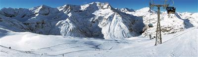 Gondola and slope in the ski resort